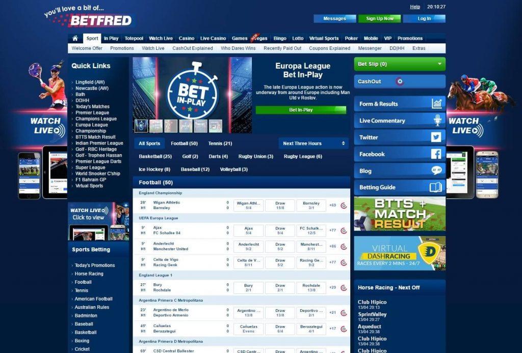 Betfred website screenshot