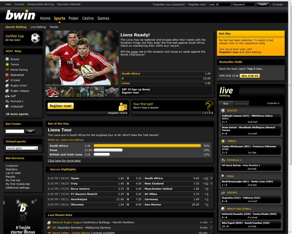 bwin website screenshot