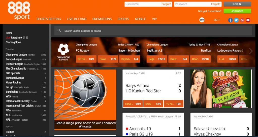 888 Sport Website Screenshot