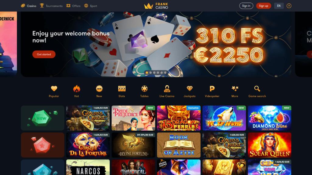 Online Frank Casino Screenshot